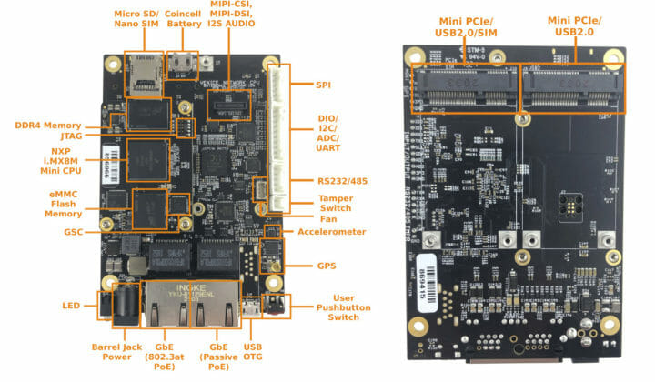 Dual Gigabit Ethernet SBC with mPCIe RS232 & RS485