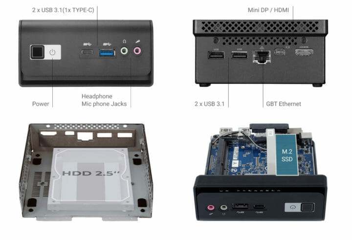 Gigabyte GB-BMCE-4500C specs storage SSD & HDD