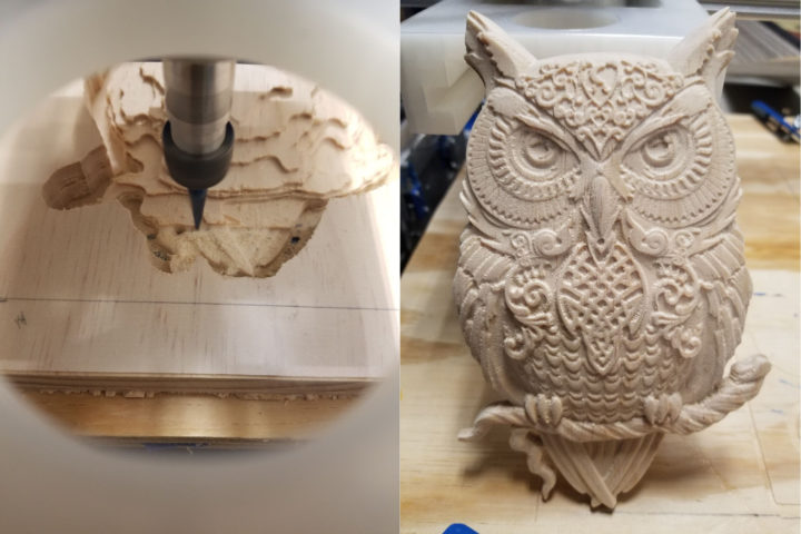 Wooden owl carved with Genmitsu-PROVerXL 4030 CNC Router