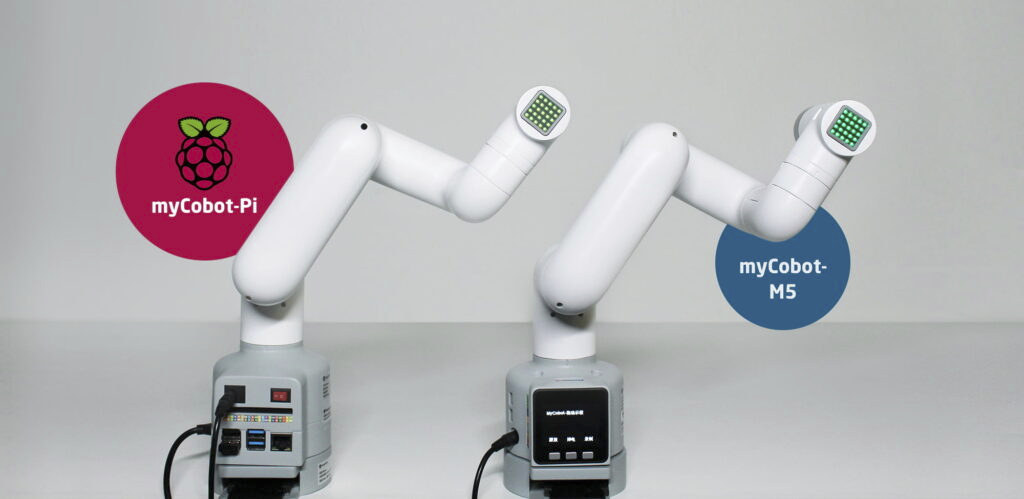 MyCobot robotic arm is offered with Raspberry Pi 4 or M5Stack ESP32 modules