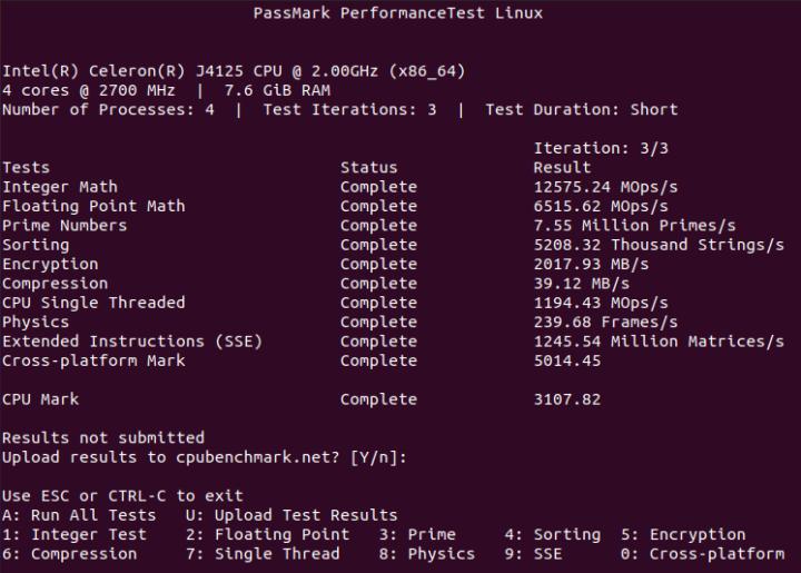 Celeron J4125 ubuntu cpu passmark