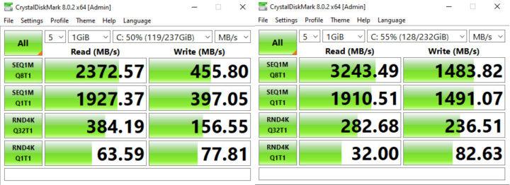 CrystalDiskMark Netac vs Samsung EVO NVMe SSD