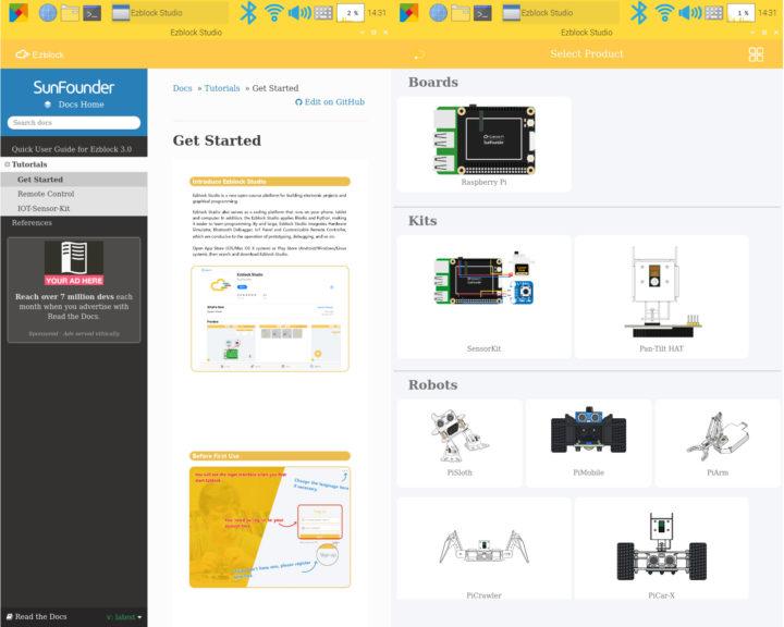 Ezblock Studio get started select product