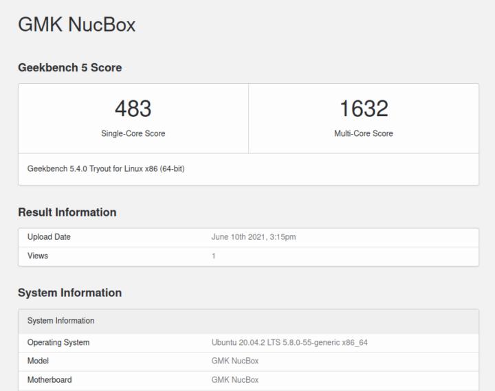 GMK NucBox ubuntu geekbench 5 CPU