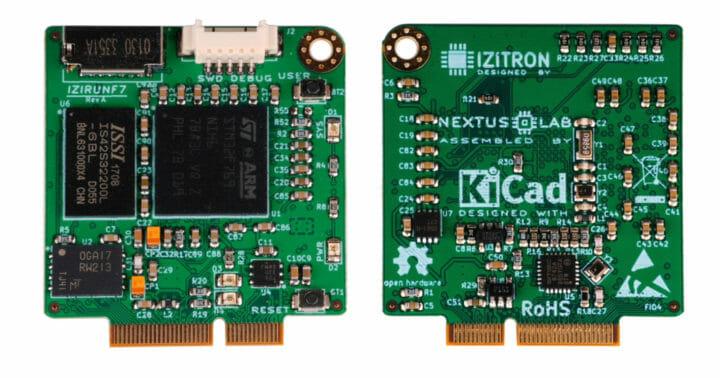 IZIRUNF7 STM32F7 MCU board with M.2 socket