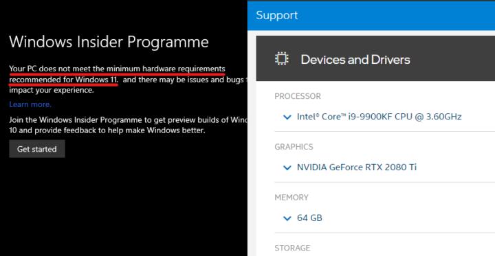 Intel Core i9 Windows 11 meet-mimum hardware requirements