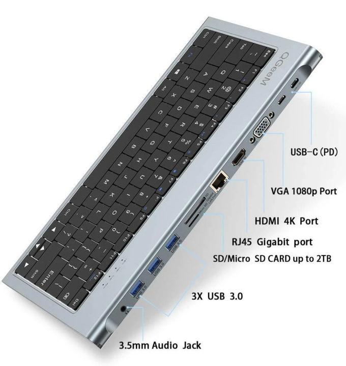 Keyboard USB-C dock with 11 ports