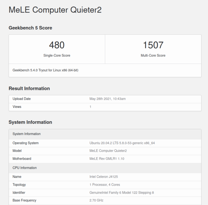 MeLE Computer Quieter2 ubuntu geekbench 5 cpu