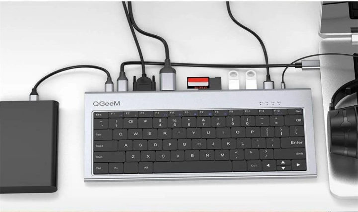 USB-C Keyboard with VGA, HDMI, USB, card reader