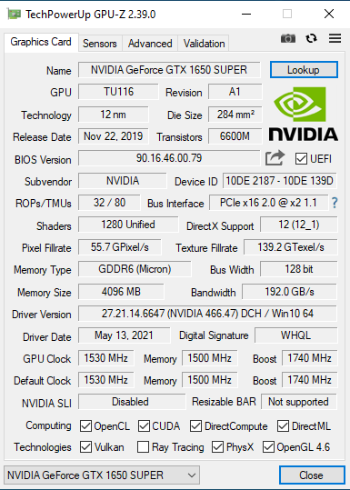 gpu-z nvidia gtx-1650 super