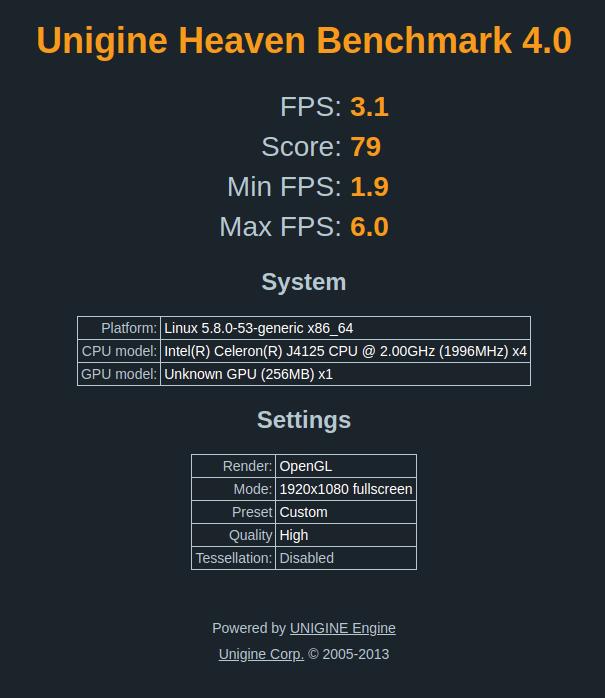 ubuntu unigine heaven 3d benchmark