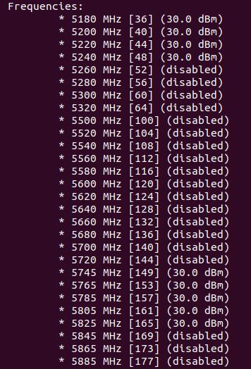 ubuntu wifi frequencies