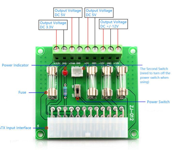 ATX power supply with terminal blocks 3.3V, 5V, 12V