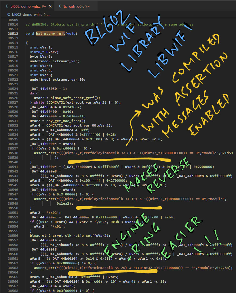 BL602 decompiled C code