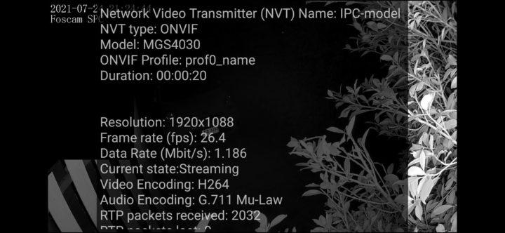 Foscam ONVIF video information