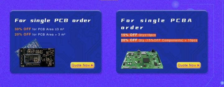 PCB & PCBA order discount & coupons