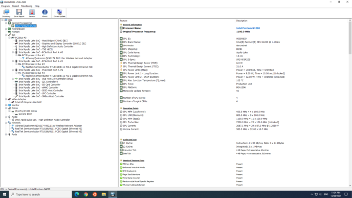 Intel Pentium N4200 windows configuration