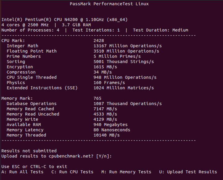LIVA Q1L review ubuntu cpu passmark
