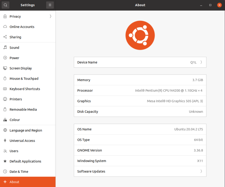 Q1L ubuntu 20.04.2 info