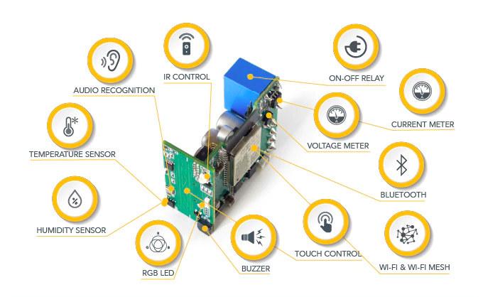 ESP32 Smart switch with sensors, power meter
