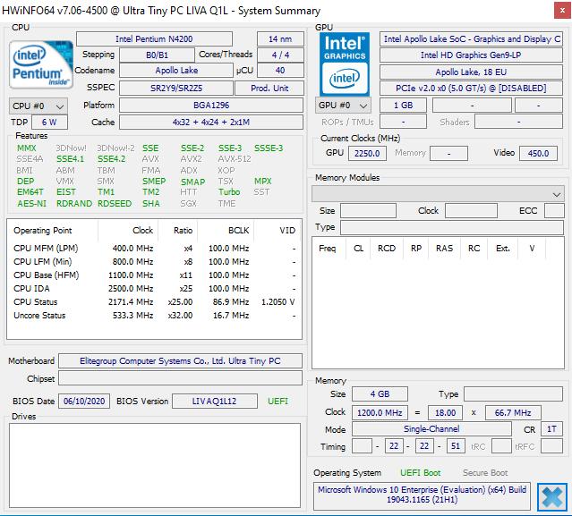 Ultra Tiny PC-LIVA Q1L windows hwinfo