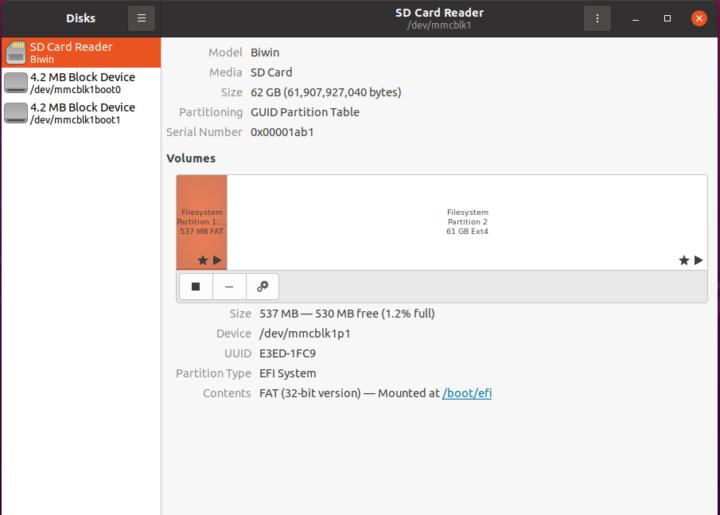 ubuntu biwin sd card disk management