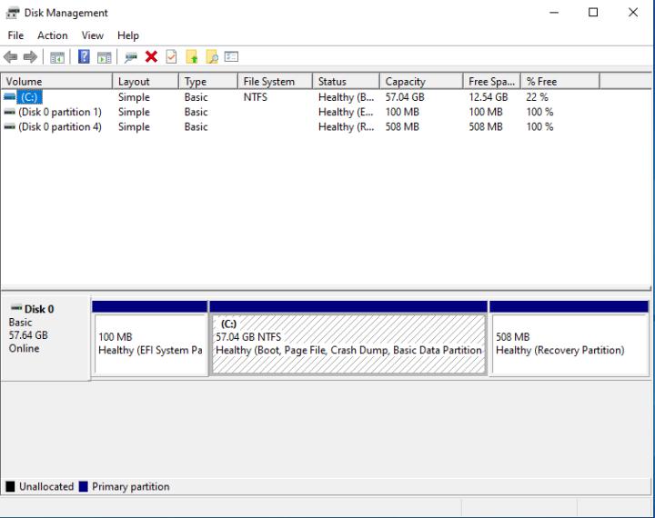 windows 10 disk management 64GB NTFS