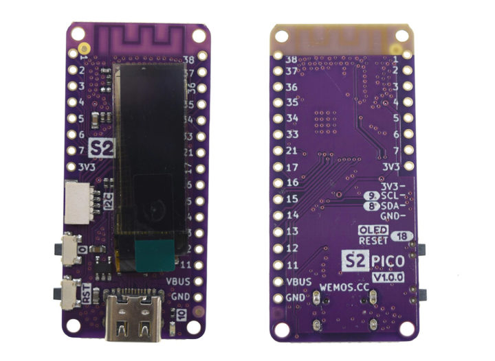 LOLIN S2 Pico - ESP32-S2 board with OLED display