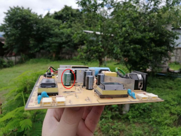 Swollen capacitor power supply board
