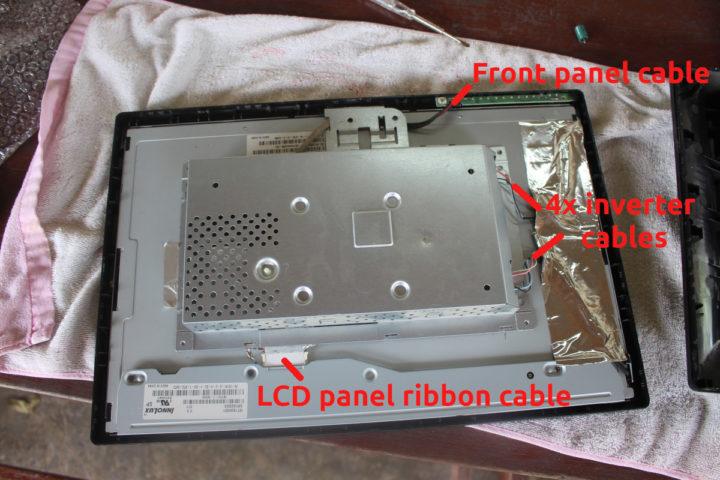 Repair LG flatron W1934S VGA monitor: remove cables